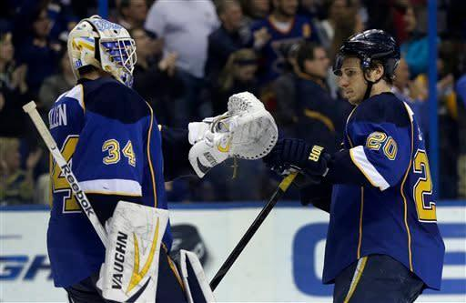 St. Louis Blues goalie Jake Allen, left, and teammate Alexander Steen celebrate following a 3-1 victory over the Columbus Blue Jackets in an NHL hockey game on Friday, April 5, 2013, in St. Louis. (AP Photo/Jeff Roberson)
