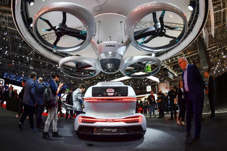 """A number of designs for flying cars have been unveiled including the """"Pop.up next"""" by Audi, italdesign and Airbus seen at the Geneva International Motor Show on March 6, 2018"""