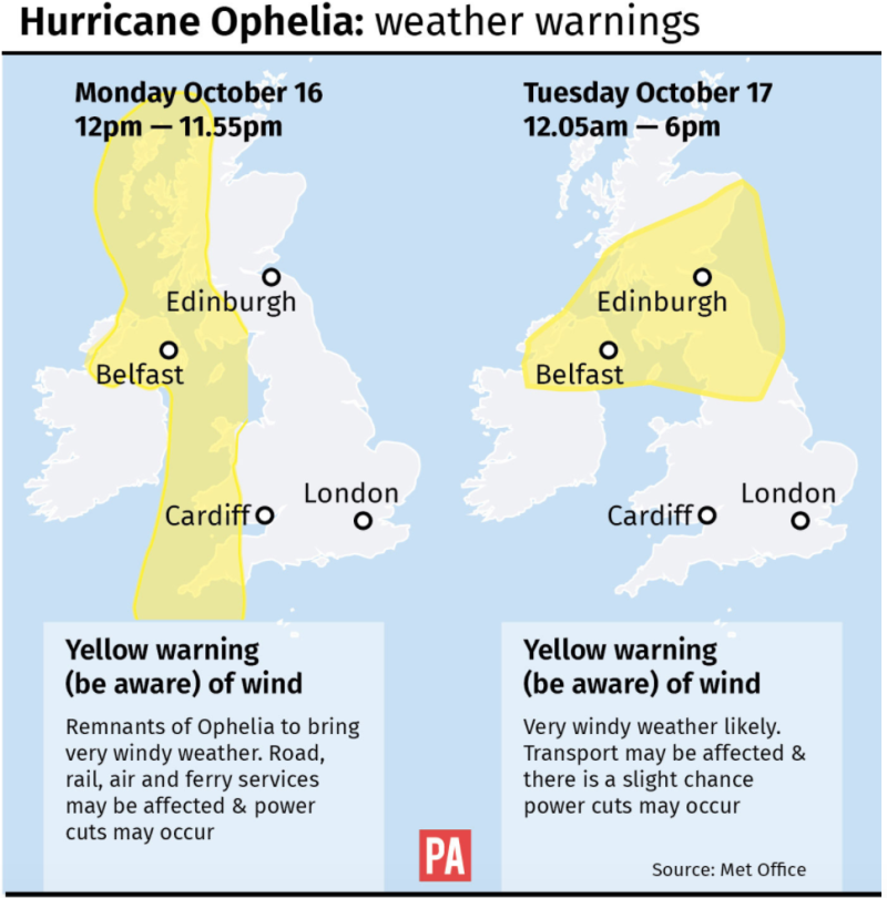 <strong>Weather warnings are in place as Hurricane Ophelia is set to bring heavy rain and 80mph winds</strong> (PA)
