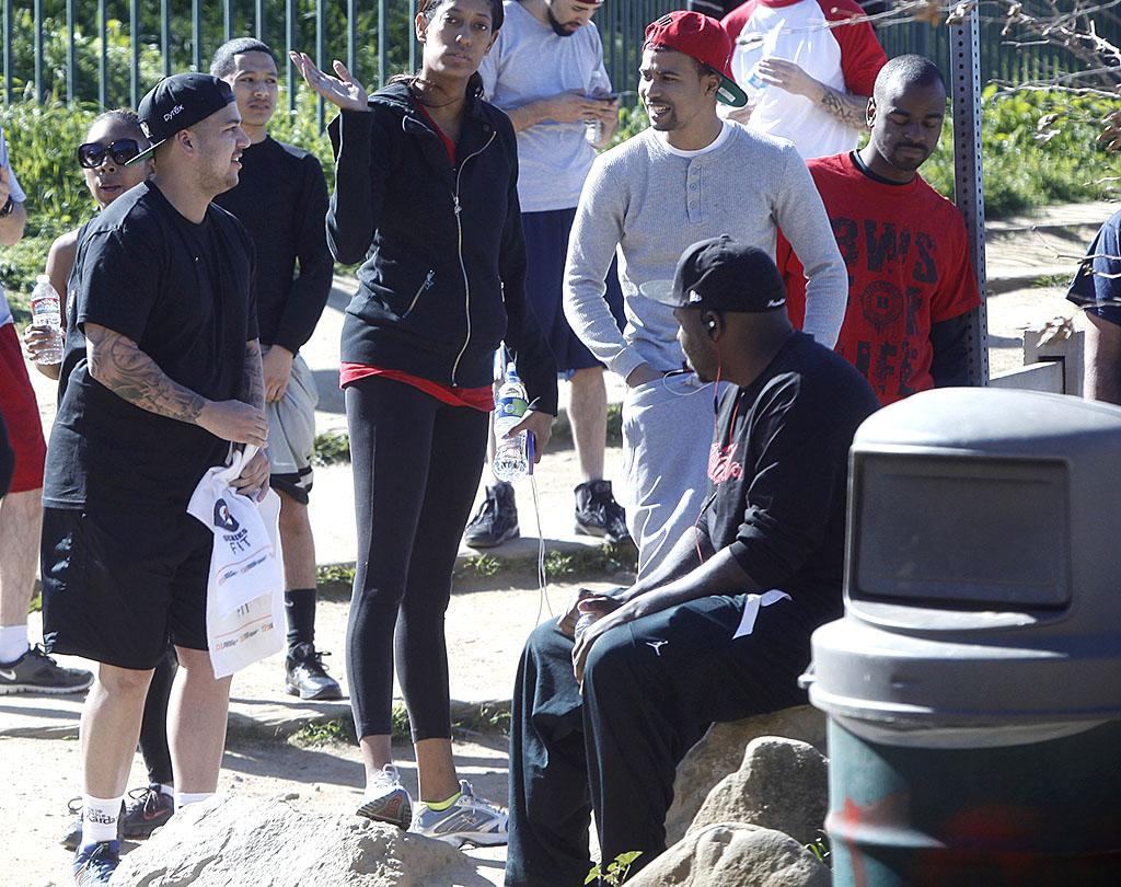 Exclusive... 51023599 Reality star Rob Kardashian attempts to sweat off some pounds with friends on February 25, 2013 at Runyon Canyon in Los Angeles, California. Rapper 'The Game' was also hiking with his friends as well. FameFlynet, Inc - Beverly Hills, CA, USA - 1 (818) 307-4813