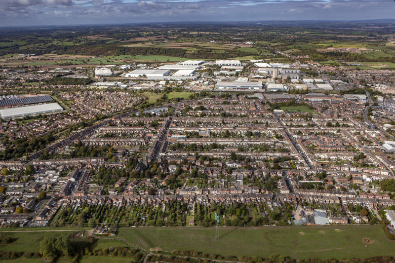 STAFFORDSHIRE, UNITED KINGDOM. OCTOBER 2018. An aerial photograph of Burton upon Trent, Staffordshire on October 1st 2018. This north midlands indusrtial town is located on the River Trent and the Trent and Mersey Canal, 10 miles south east of Derby. Aerial Photograph by David Goddard