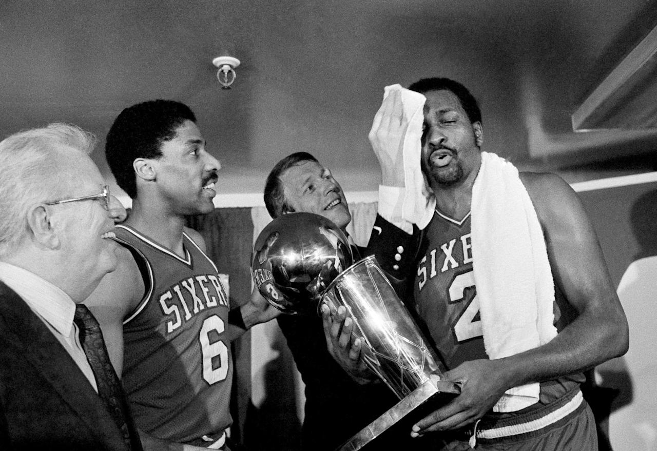 "<p>After trading for league MVP Moses Malone in the offseason, the Sixers took time to mesh his talents with aging superstar Julius Erving and standout guards Mo Cheeks and Andrew Toney. But by the time the playoffs rolled around, Philly was a juggernaut. Malone's famous playoff prediction of ""'Fo, 'fo, 'fo"" almost came true as the Sixers won their three series 4-0, 4-1 and 4-0. </p>"