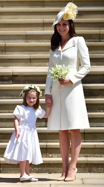<p>WHO: Catherine, Duchess of Cambridge</p> <p>WHAT: Alexander McQueen</p> <p>WHERE: At the royal wedding, Windsor, England</p> <p>WHEN: May 19, 2018</p>