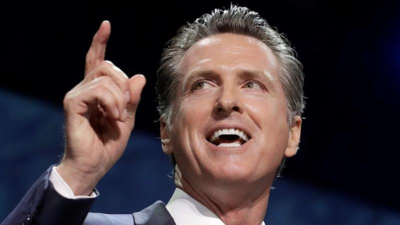 California Gov. Gavin Newsom speaks during the 2019 California Democratic Party State Organizing Convention in San Francisco. Newsom signed a bill into law that makes California the first state to ban the fur trade on Wednesday, Sept. 4, 2019.