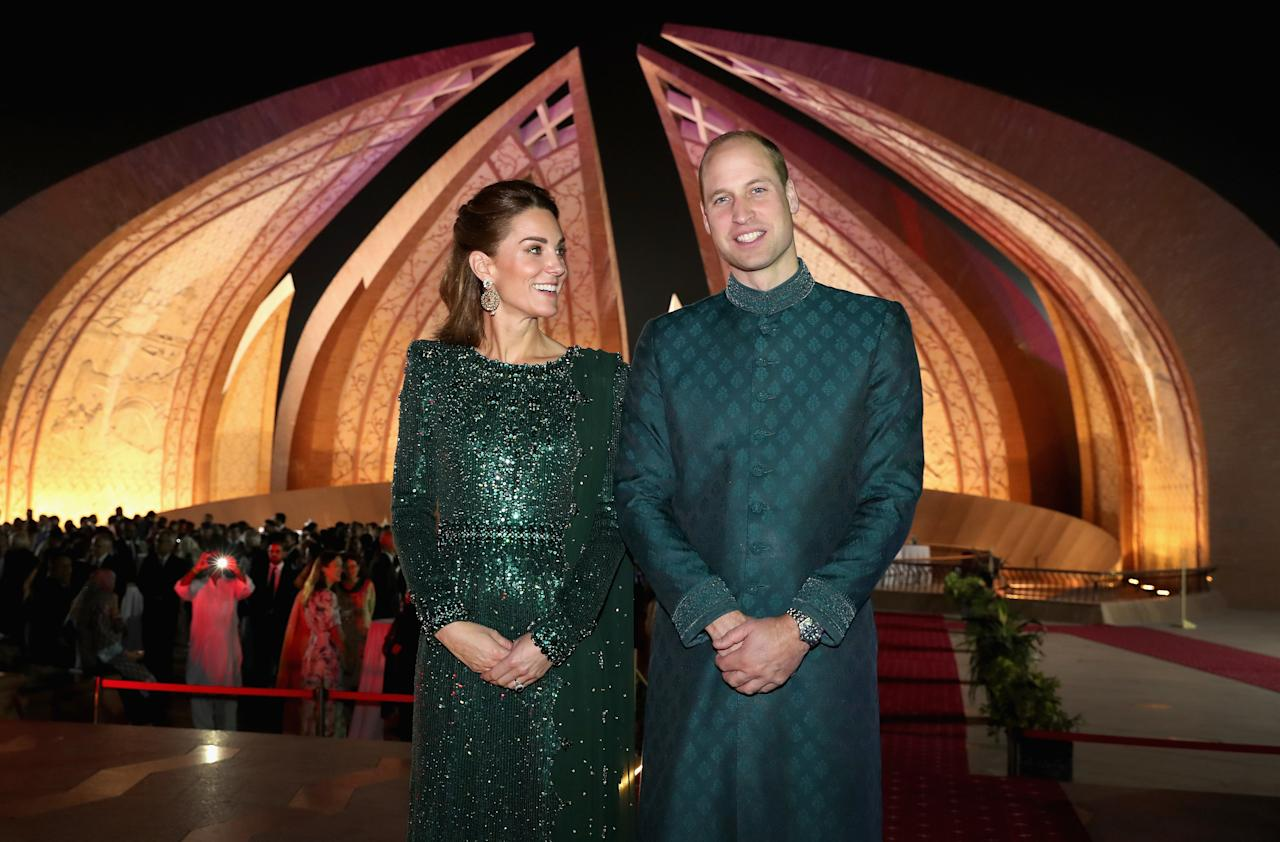 Kate and William were feted on their second night in Pakistan at a reception hosted by the British High Commissioner at the impressive Pakistan National Monument. The couple arrived by decorated rickshaw, with the Duchess in a sparkling floor-length Jenny Packham dress and William in a matching green sherwani. There, William delivered a speech at the center of the monument, which was constructed to look like four opening flower petals. Built in 2005, the unique design was proposed by Arif Masoud, and won out against 21 other submissions entered in a nationwide design competition surrounding the themes of strength, unity, and dedication. The design is deeply rooted in Mughal architecture, with modernized versions of muqarnas engraved in the structure. The four petals represent each of Pakistan's four major cultures: the Punjabi, the Balochi, the Sindhi, and the Pakhtun. Three smaller petals that stand between the four larger ones represent minorities, Azad Kashmir, and the trial areas. A star and a crescent representing the flag of Pakistan sits in the very center of the monument, and is made up of black granite and stainless steel. The petals are made of granite.