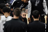 San Antonio Spurs assistant coach Becky Hammon calls a play during a timeout in the second half of the team's NBA basketball game against the Los Angeles Lakers in San Antonio, Wednesday, Dec. 30, 2020. Hammon became the first woman to direct an NBA team, taking over the Spurs after coach Gregg Popovich was ejected in a 121-107 loss. (AP Photo/Eric Gay)