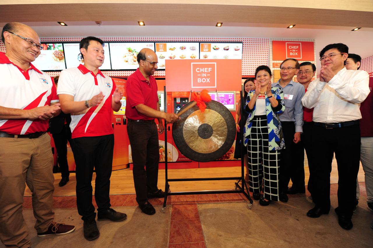 Member of Parliament for Sengkang West and Minister of State for Health, Lam Pin Min (second from left), and Deputy Prime Minister Tharman Shanmugaratnam (third from left) at the launch of VendCafe. (Photo by: JR Vending)