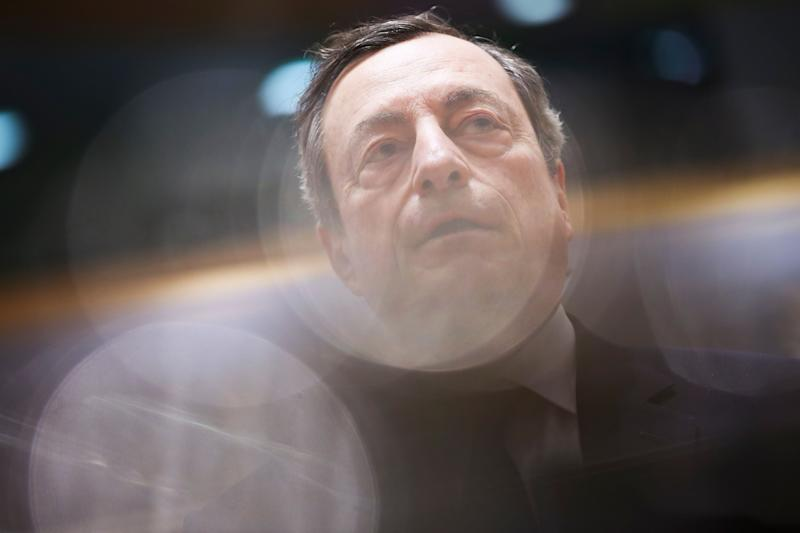 European Central Bank President Mario Draghi arrives to a meeting of Eurogroup Finance Ministers at the European Council headquarters in Brussels, Monday, Feb. 11, 2019. (AP Photo/Francisco Seco)