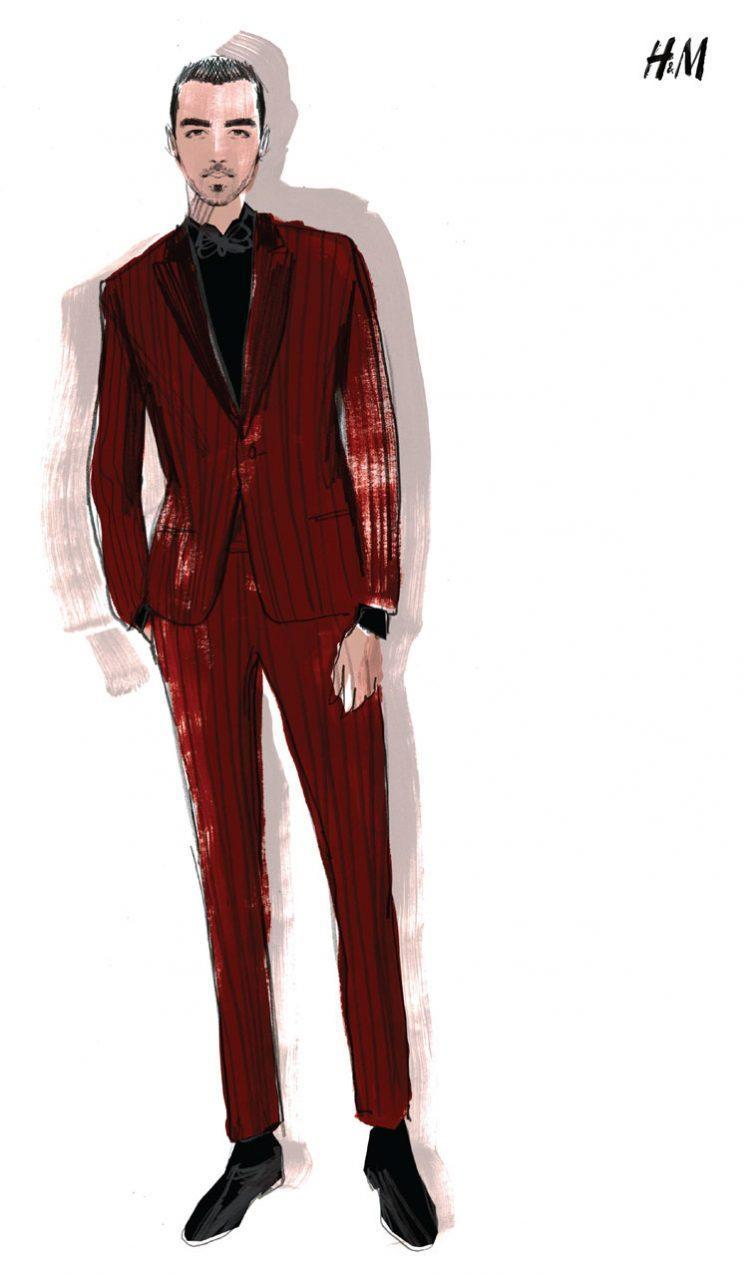 Illustration from H&M of Joe Jonas's custom suit.