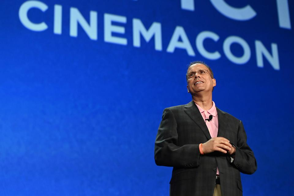 CEO & President of Marcus Theatres and NATO Chairman Rolando Rodriguez speaks onstage during CinemaCon 2021.