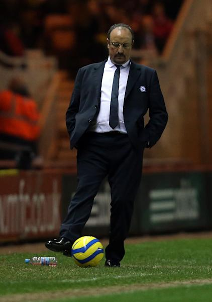 Chlesea manager Rafael Benitez, during his team's English FA Cup fifth round soccer match against Middlesbrough at the Riverside Stadium, Middlesbrough, England, Wednesday, Feb. 27, 2013. (AP Photo/Scott Heppell)