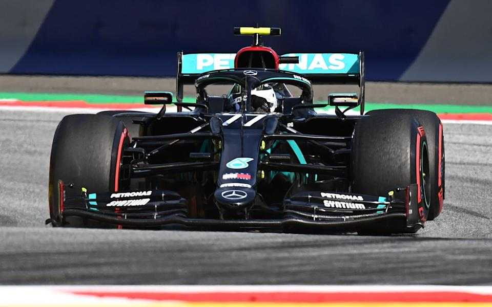 Mercedes' Finnish driver Valtteri Bottas steers his car during the second practice session for the Formula One Styrian Grand Prix on July 10, 2020 in Spielberg, Austria - JOE KLAMAR/AFP via Getty Images