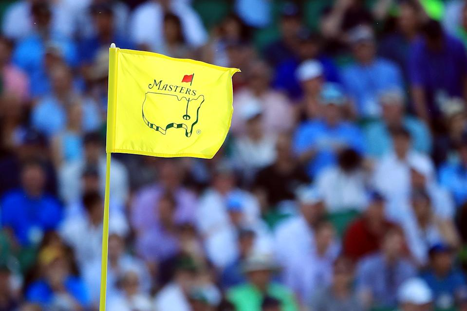 A Masters flag waving in the wind.