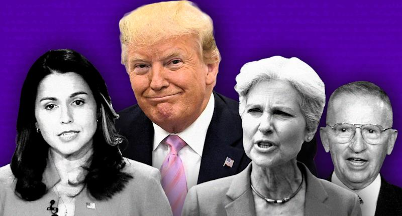Tulsi Gabbard, Donald Trump, Jill Stein and Ross Perot. (Photo illustration: Yahoo News; photos: AP, Shutterstock)