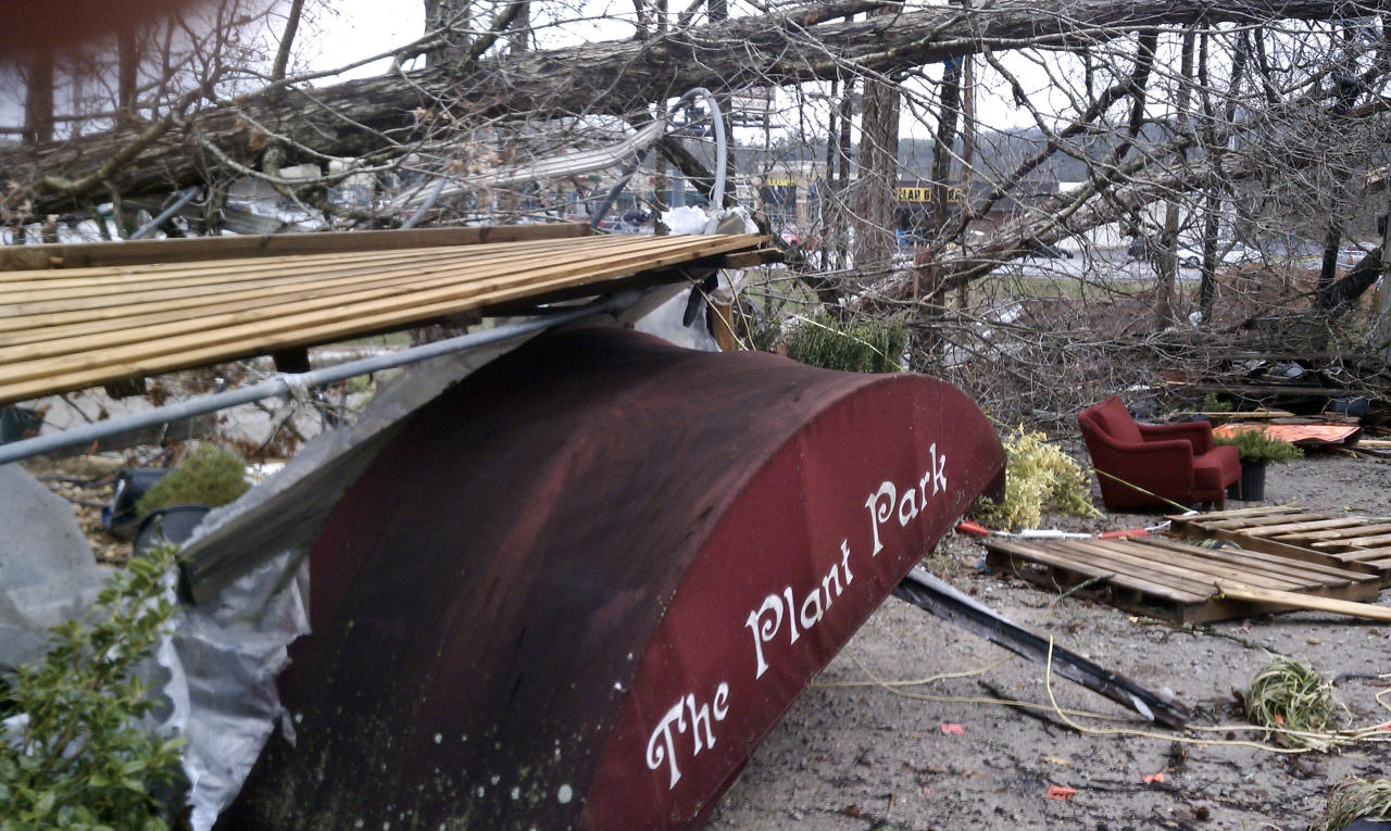 The Plant Place greenhouse lies destroyed after a reported tornado came through Toney, Ala., Friday, March 2, 2012. (AP Photo/The Huntsville Times, Eric Schultz)