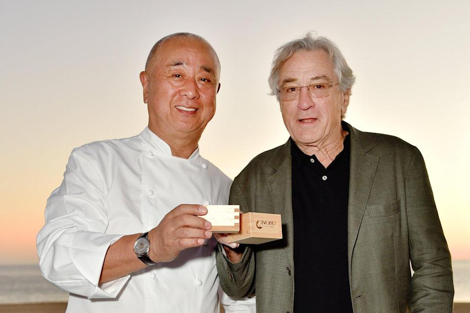 Executive Chef & Owner Chef Nobu Matsuhisa (L) and Co-Founder Robert De Niro attend Nobu Los Cabos Official Hotel Launch