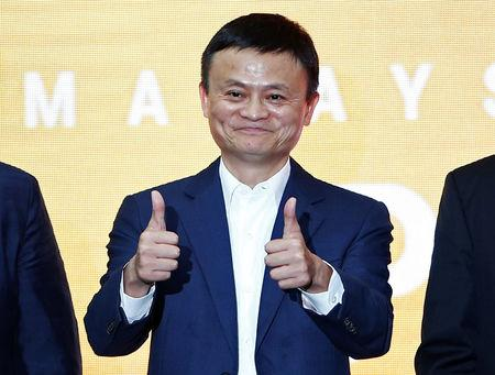 Jack Ma, founder of Chinese e-commerce giant Alibaba, gestures during the launch of Alibaba's office in Kuala Lumpur