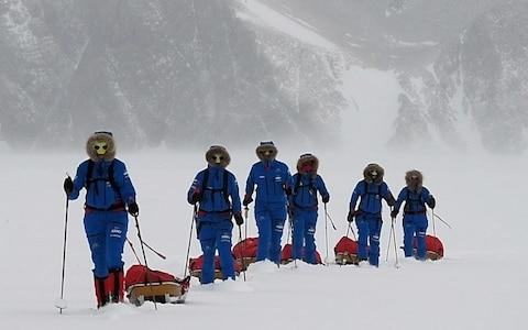 The female British soldiers crossing Antarctica with their sleds - Credit: Ministry of Defence / PA
