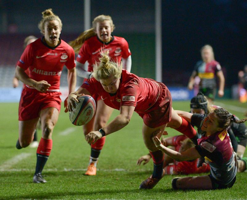 England international Marlie Packer scored a hat-trick at the Stoop Credit: Marek Dorcik