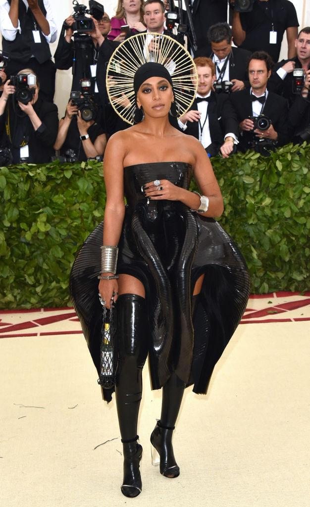 <p>Solange one-upped everyone at the event, wearing a latex ensemble by Iris van Herpen. (Photo: Getty Images) </p>