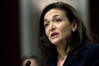 """FILE- In this Sept. 5, 2018, file photo, Facebook COO Sheryl Sandberg testifies before the Senate Intelligence Committee hearing on """"Foreign Influence Operations and Their Use of Social Media Platforms,"""" on Capitol Hill in Washington. Sandberg and Facebook CEO Mark Zuckerberg met with civil rights leaders Tuesday, July 7, 2020, including the organizers of a widespread advertising boycott of the social network over hate speech on its platform, in an effort to convince critics that it is doing everything it can to rid its service of hate, abuse and misinformation. (AP Photo/Jose Luis Magana, File)"""