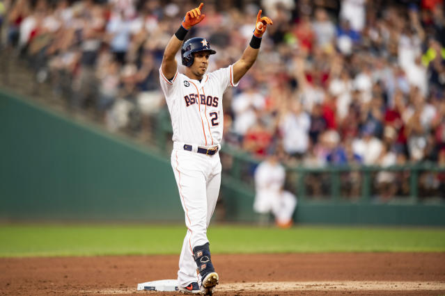Michael Brantley celebrates his RBI double in the 2019 Major League Baseball All-Star Game at Progressive Field on July 9, 2019 in Cleveland, Ohio. (Getty Images)