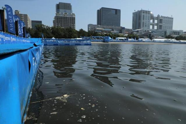 The swimming section of a paratriathlon test event for Tokyo 2020 was cancelled on Saturday due to high levels of bacteria in the water (AFP Photo/JIJI PRESS)