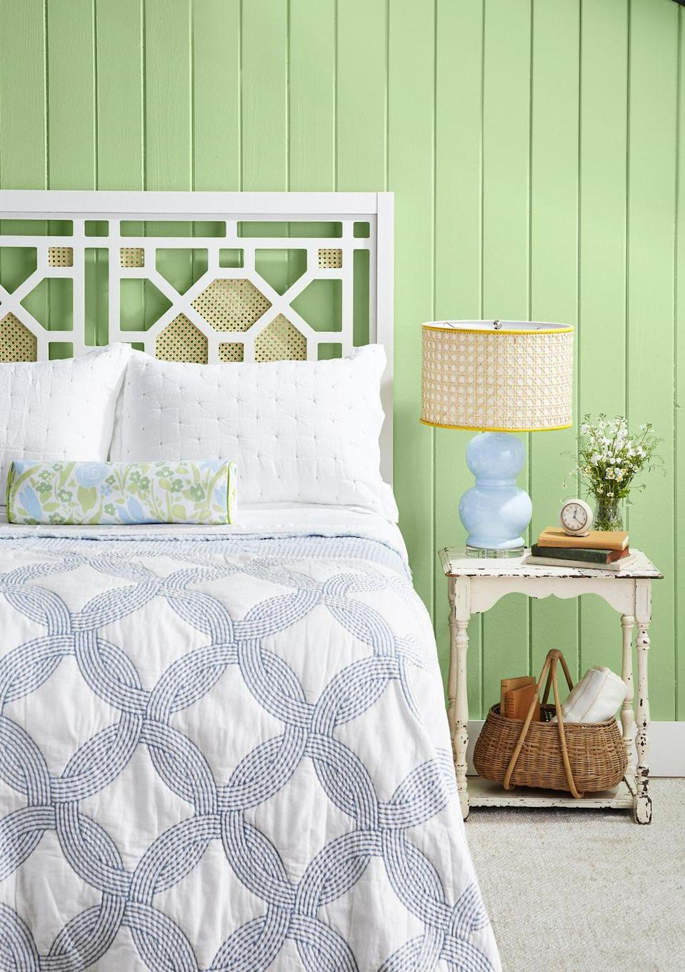 <p>Update any open-framed headboard by cutting pieces of cane webbing just larger than the openings you wish to embellish, then attach to the back with a staple gun.</p>