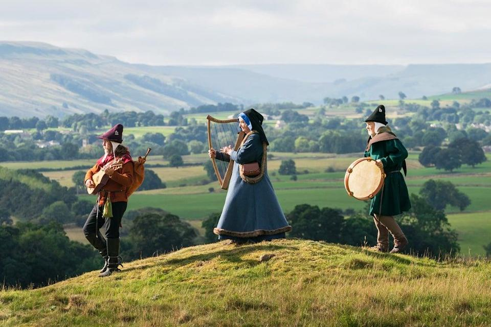 Members of medieval group Maranella in the grounds of Castle Bolton (Danny Lawson/PA) (PA Wire)