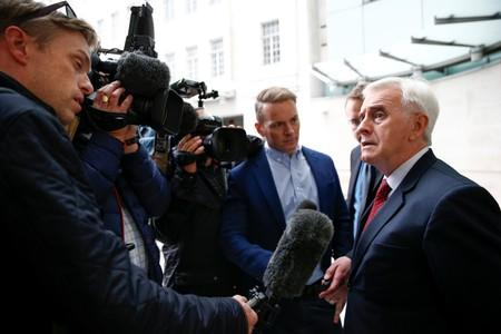 British Labour politician John McDonnell speaks to media outside the BBC headquarters after appearing on the Andrew Marr show in London