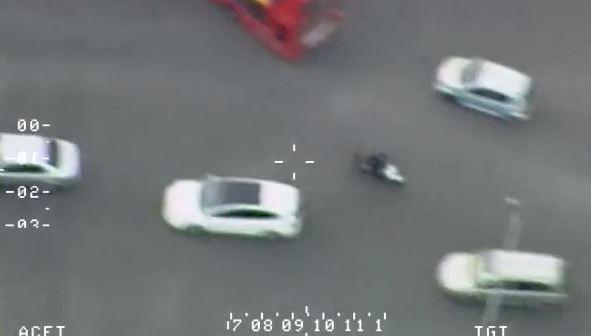 Dodging traffic: aerial footage of the chase