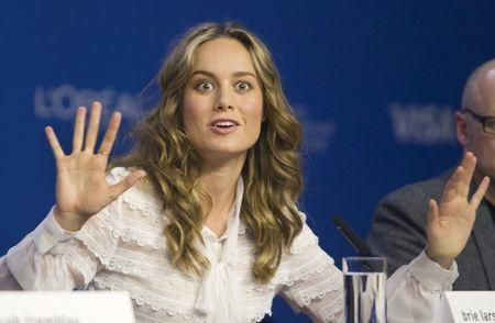 """Actress Brie Larson attends a news conference to promote the film """"Room"""". REUTERS/Fred Thornhill"""