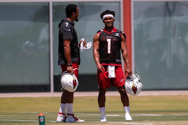 Arizona Cardinals quarterback Kyler Murray Brett Hundley during OTAs on June 3, 2019, at the team's training facility in Tempe, Arizona. (Kevin Abele/Getty Images)