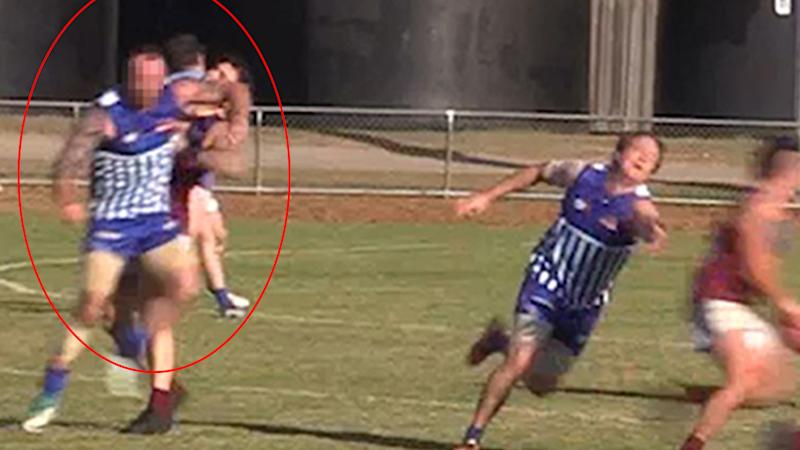 Thuggish AFL player breaks rival's jaw with sickening elbow to the face
