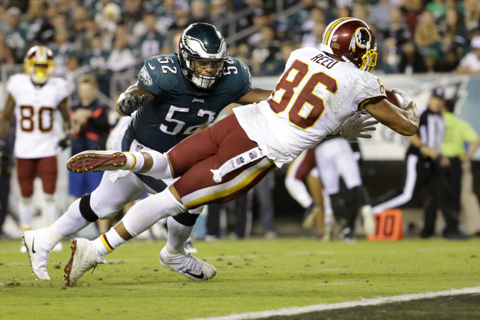 Availability isn't a strength for Jordan Reed, but he can play. (AP Photo/Michael Perez)