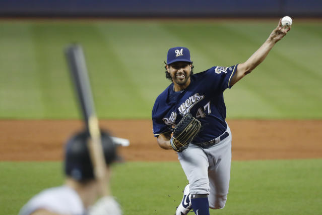 Milwaukee Brewers' Gio Gonzalez pitches to Miami Marlins' Jon Berti during the first inning of a baseball game, Thursday, Sept. 12, 2019, in Miami. (AP Photo/Wilfredo Lee)