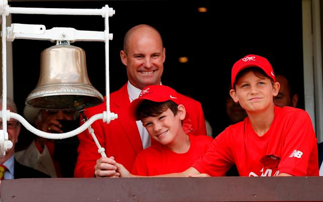 Andrew Strauss and his two sons ring the five minute bell to show support for The Ruth Strauss Foundation at Lord's - AFP