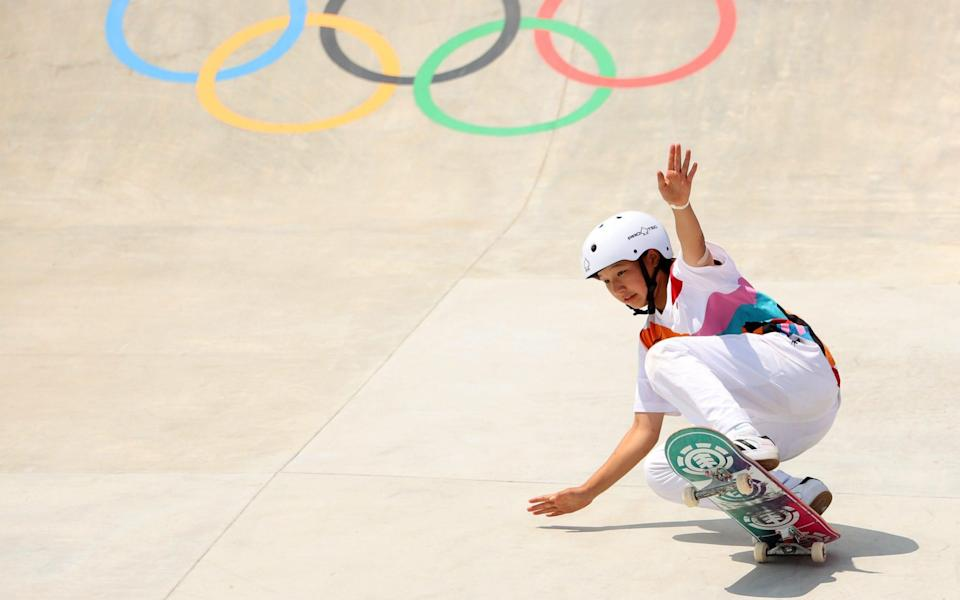 Momiji Nishiya on here way to gold in the skateboarding - GETTY IMAGES