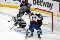 Los Angeles Kings goaltender Calvin Petersen (40) gives up a goal on a shot from Colorado Avalanche defenseman Devon Toews, not seen, during the first period of an NHL hockey game Saturday, May 8, 2021, in Los Angeles. (AP Photo/Marcio Jose Sanchez)