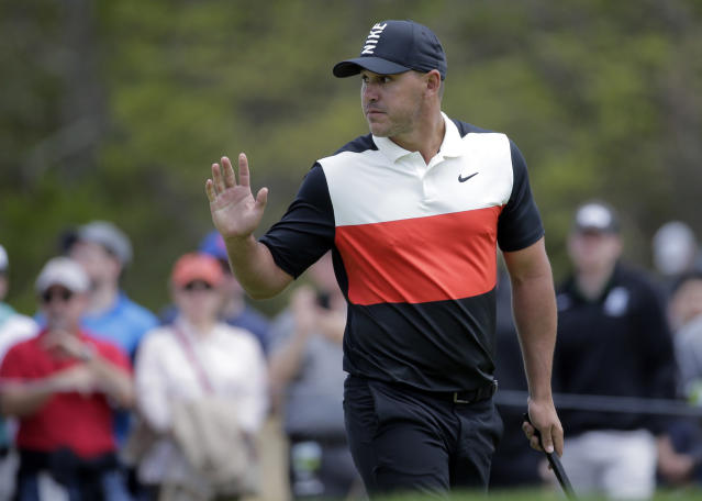 Brooks Koepka reacts after putting on the sixth green during the first round of the PGA Championship golf tournament, Thursday, May 16, 2019, at Bethpage Black in Farmingdale, N.Y. (AP Photo/Seth Wenig)