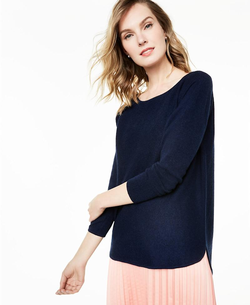 Pure Cashmere Long-Sleeve Shirttail Sweater. (Photo: Macys)