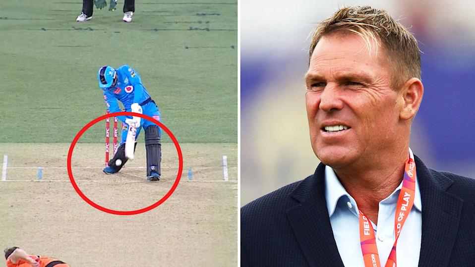 Shane Warne (pictured right) during commentary and Rashid Khan (pictured left) surviving an appeal against the Perth Scorchers.