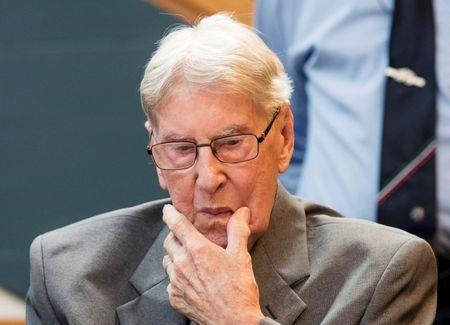 Defendant Hanning, a 94-year-old former guard at Auschwitz death camp, sits in a courtroom before his verdict in Detmold