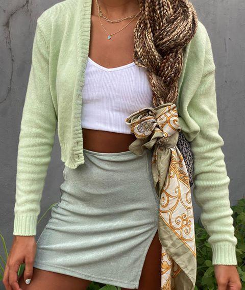 """<p>If you couldn't tell, scarves are big this year. Once the summer months are over, and you're done wearing yours like a top, switch to wearing your scarf in your hair.<strong> Tie it around the base of your ponytail, wrap it like a headband, use it to accessorize your <a href=""""https://www.cosmopolitan.com/style-beauty/beauty/how-to/a32463/braid-how-to/"""" rel=""""nofollow noopener"""" target=""""_blank"""" data-ylk=""""slk:braided hairstyle"""" class=""""link rapid-noclick-resp"""">braided hairstyle</a></strong>—the options are endless, just like your scarf collection.</p><p><a href=""""https://www.instagram.com/p/B7yTHERBbiL/?utm_source=ig_embed&utm_campaign=loading"""" rel=""""nofollow noopener"""" target=""""_blank"""" data-ylk=""""slk:See the original post on Instagram"""" class=""""link rapid-noclick-resp"""">See the original post on Instagram</a></p>"""