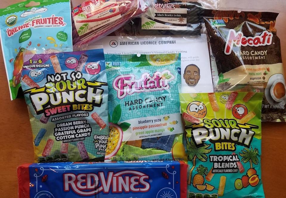 A collection of different candies surrounding a drawing of Jaleel White