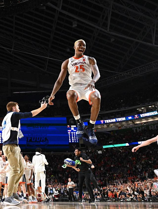 Mamadi Diakite #25 of the Virginia Cavaliers celebrates after defeating the Texas Tech Red Raiders in the 2019 NCAA men's Final Four National Championship game at U.S. Bank Stadium on April 08, 2019 in Minneapolis, Minnesota. (Photo by Jamie Schwaberow/NCAA Photos via Getty Images)