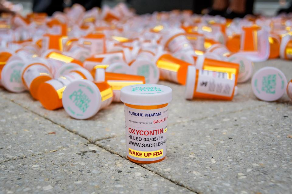 Members of P.A.I.N. (Prescription Addiction Intervention Now) and Truth Pharm staged a protest on Sept. 12, 2019 outside Purdue Pharma headquarters in Stamford, CT. (Photo by Erik McGregor/LightRocket via Getty Images)