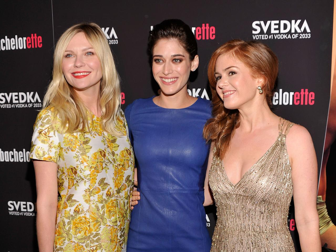 "NEW YORK, NY - SEPTEMBER 04:  Actresses Kirsten Dunst, Lizzy Caplan and Isla Fisher attend the ""Bachelorette"" New York Premiere at Sunshine Landmark on September 4, 2012 in New York City.  (Photo by Stephen Lovekin/Getty Images)"