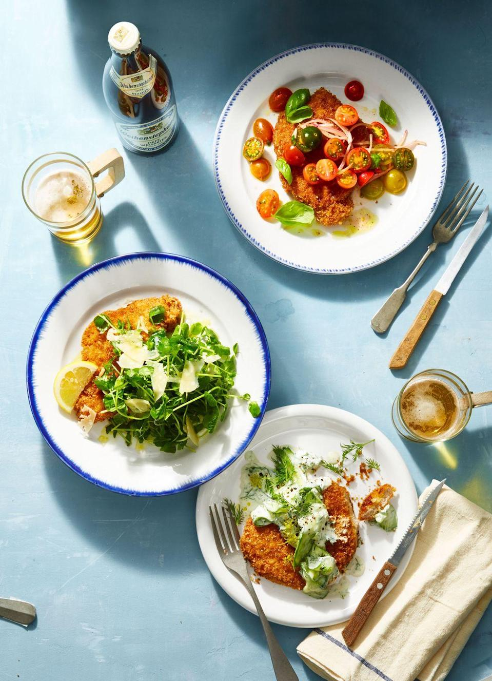 """<p>Extra-crispy chicken schnitzel smothered in your choice of 3 bright, colorful toppers is an easy weeknight meal that tastes like something from a restaurant.</p><p><em><a href=""""https://www.goodhousekeeping.com/food-recipes/a9961/chicken-schnitzel-recipe/"""" rel=""""nofollow noopener"""" target=""""_blank"""" data-ylk=""""slk:Get the recipe for Chicken Schnitzel, 3 Ways »"""" class=""""link rapid-noclick-resp"""">Get the recipe for Chicken Schnitzel, 3 Ways »</a></em></p>"""