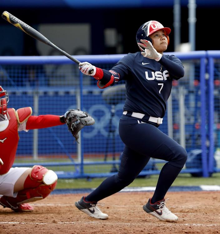 Kelsey Stewart watches her walk-off home run during the seventh inning of a 2-1 U.S. win.